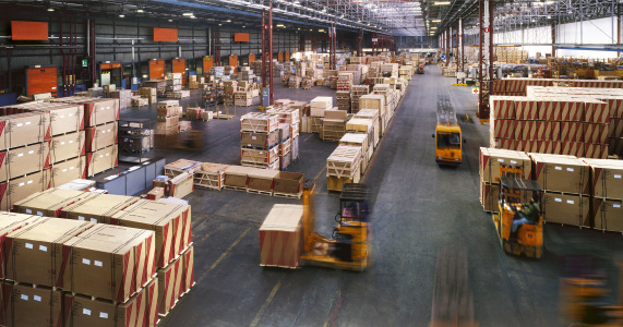 View from above inside a busy huge industrial warehouse 157558600