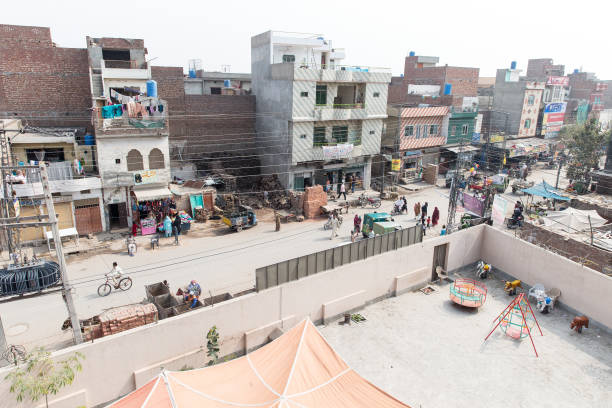 View from above of a busy street of Lahore on February 27 2014 in Lahore Pakistan Lahore is the capital city of the Pakistani province of Punjab the..