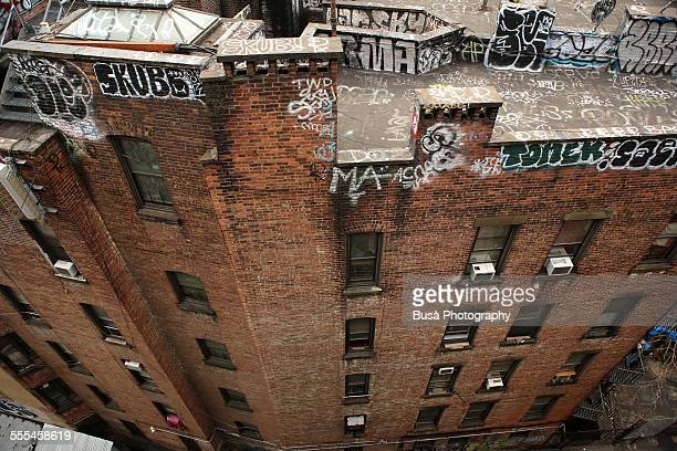 View from above of a derelict building, NYC