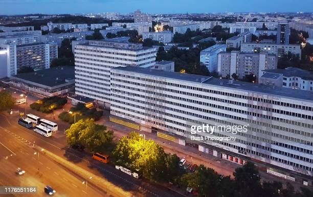 view from above of communist office buildings along the otto braun strasse near alexanderplatz in former east berlin, germany - フリードリッヒハイン ストックフォトと画像