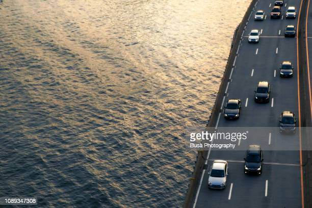 View from above of FDR Drive (officially named Franklin Delano Roosevelt East River Drive), a parkway on the east side of Manhattan along the East River, in New York City