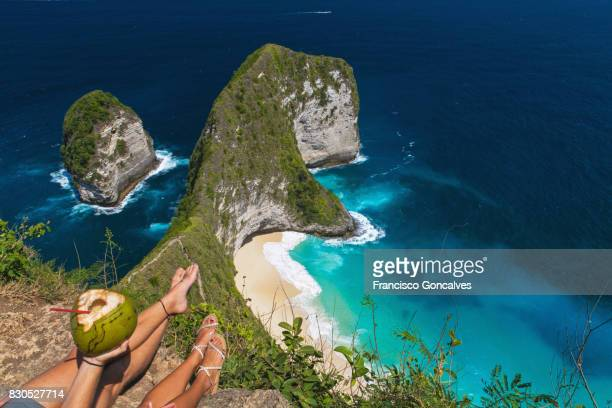 view from above of kelingking beach in nusa penida, bali - bali stock pictures, royalty-free photos & images