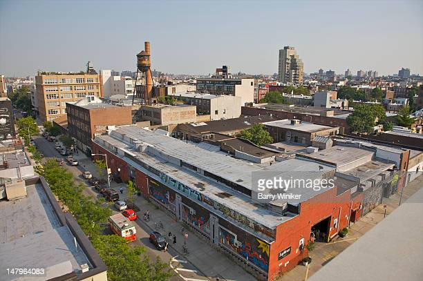 view from above of old and new buildings. - williamsburg new york city stock pictures, royalty-free photos & images