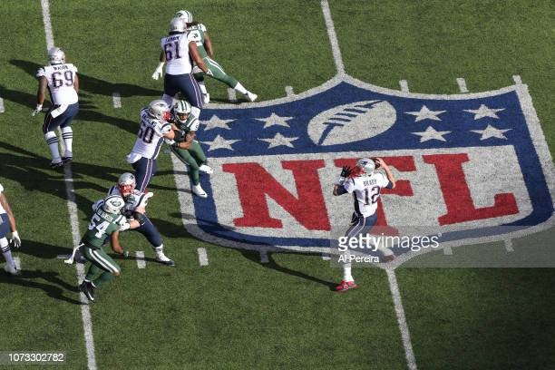 View from above of Quarterback Tom Brady of The New England Patriots in action against the New York Jets during their game at MetLife Stadium on...