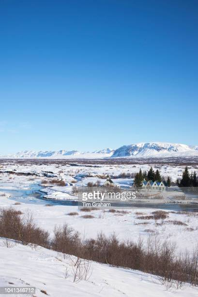 View from above of snowcovered famous tourist sight Thingvellir National Park Pingvellir in Iceland