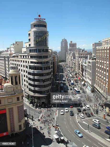 View from above of the buildings of the Plaza del Callao and the third section of the Gran Vía towards the Plaza of Spain Madrid Spain
