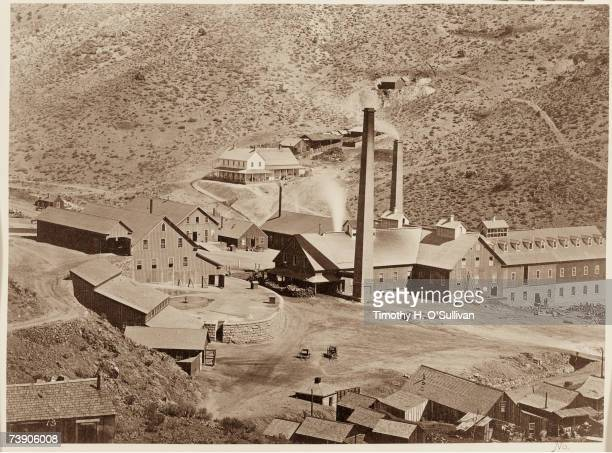 View from above of the Gould and Curry Mine Mill Comstock Lode Mine Works Virginia City Nevada 1867 The mill operated on the large silver deposits in...