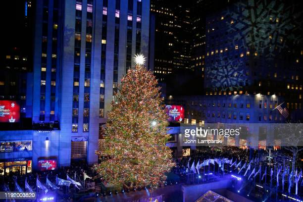 View from above of the Rockefeller Center Christmas Tree, with Swarovski Star atop, during the 87th Annual Rockefeller Center Christmas Tree Lighting...
