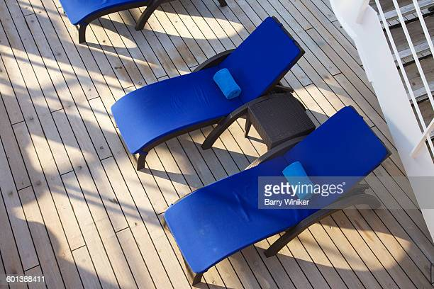 View from above of yacht deck chairs