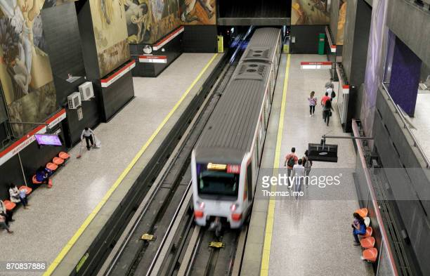 View from above on a driving underground subway of the metro in Santiago de Chile on October 15 2017 in Santiago de Chile Chile