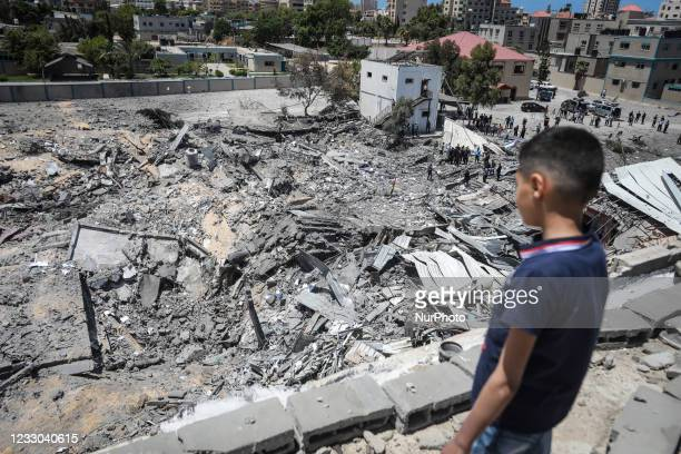 View from above shows of Arafat City, Gaza's police headquarters in Gaza City on May 22 following a ceasefire between Israel and Palestinian...