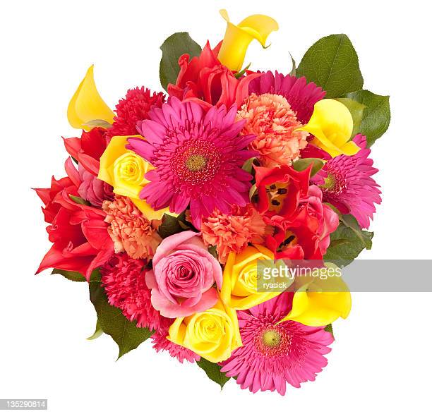 View From Above Spring Floral Bouquet Isolated Clipping Path