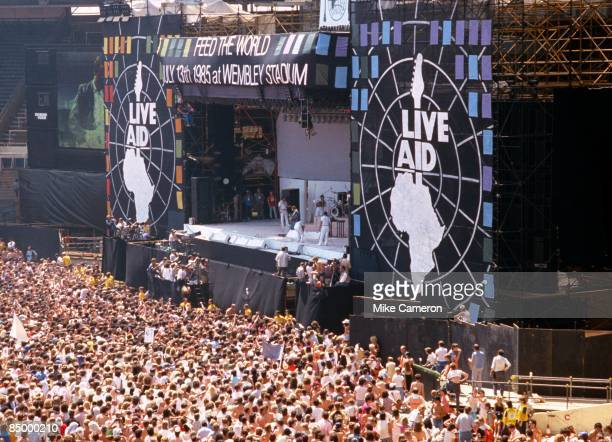 View from above the crowd attending the Live Aid Concert at Wembley Stadium 13th July 1985