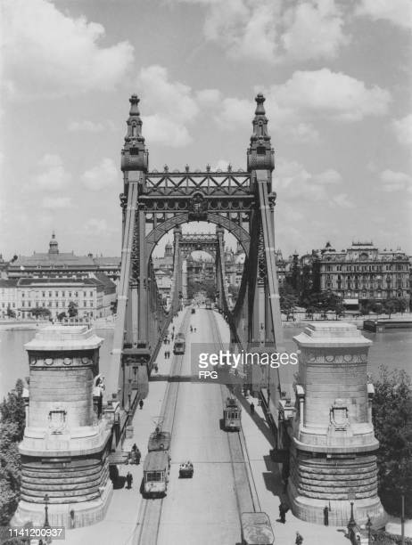 View from above the Elisabeth Bridge Budapest Hungary 1930s