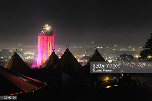 View from above the Tipi Park of the viewing tower in the Park field in the early hours of the final day of Glastonbury Festival at Worthy Farm on...