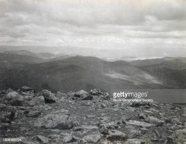 View from above Tinki pass looking East over Tsomotretung lake. By C.K. Howard-Bury. Mount Everest Expedition 1921.