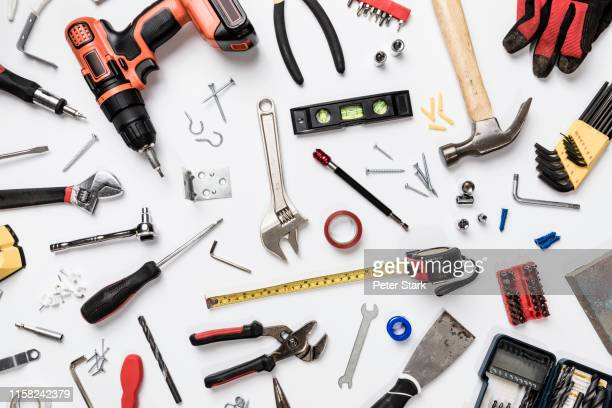 view from above tools on white background - knolling - knolling concept stock pictures, royalty-free photos & images