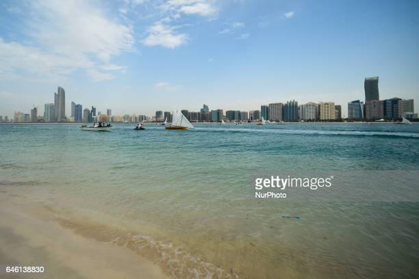 A view from Abu Dhabi Marina beach on Al Hosn and Al Danah skyscrapers in the backgroun On Friday February 24 in Abu Dhabi UAE