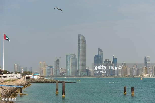 A view from Abu Dhabi Marina on Abu Dhabi beach and Al Hosn and Al Danah skyscrapers in the backgroun On Friday February 24 in Abu Dhabi UAE
