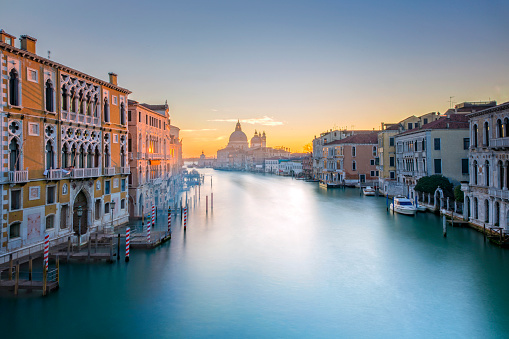 View from Accademia Bridge on Grand Canal in Venice 504879858