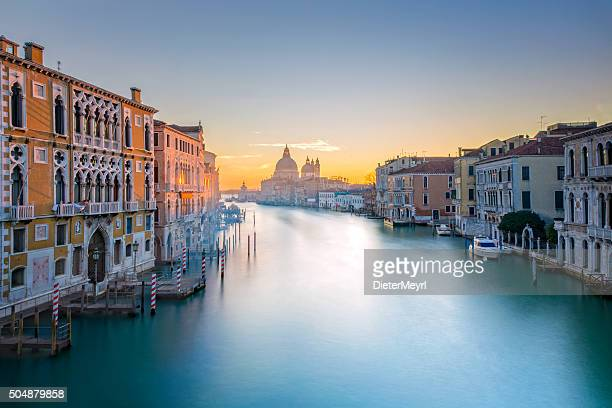 view from accademia bridge on grand canal in venice - veneto stock pictures, royalty-free photos & images