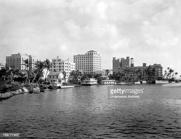 A view from across the Miami River of some of the fine apartment houses Miami Florida c 1926