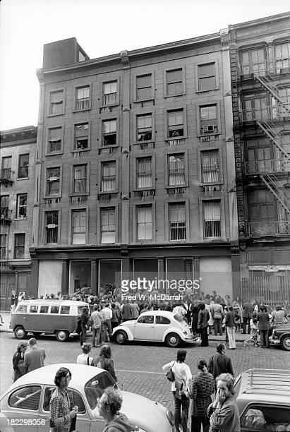 View from across the street of 420 West Broadway of four simultaneous art gallery openings New York New York September 25 1971 From the fifth floor...