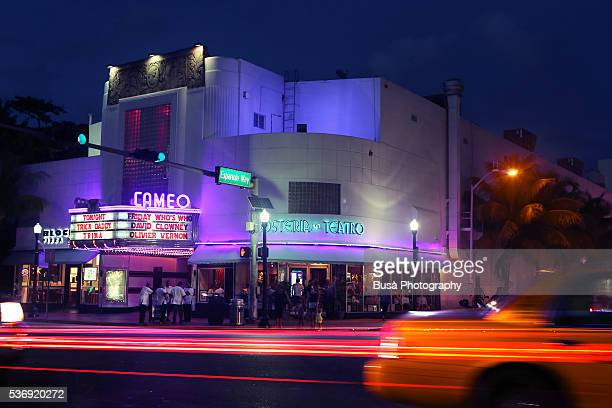 View from across the street of the Cameo Theater at Washington Avenue, South Beach, Florida, at night