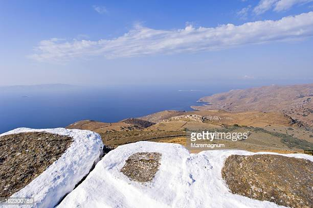view from agios simeone church, near ellinika - simeone stock pictures, royalty-free photos & images
