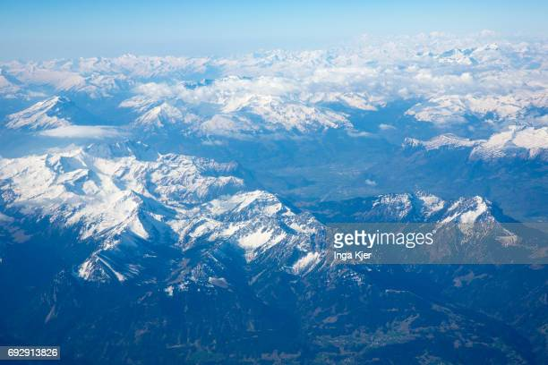 View from an airplane to the Swiss Alps on April 10 2017 in Zurich Switzerland