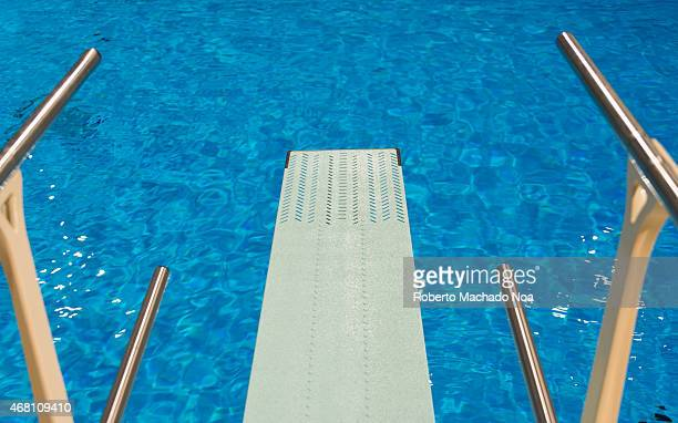 olympic swimming pool background. ONTARIO TORONTO CANADA View From An Olympic Sport Diving Board At Indoor Swimming Pool Background P