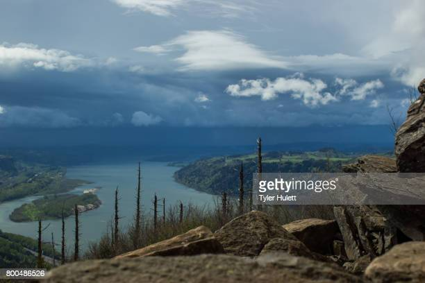 view from angel's rest of the columbia river - pacific crest trail stock pictures, royalty-free photos & images