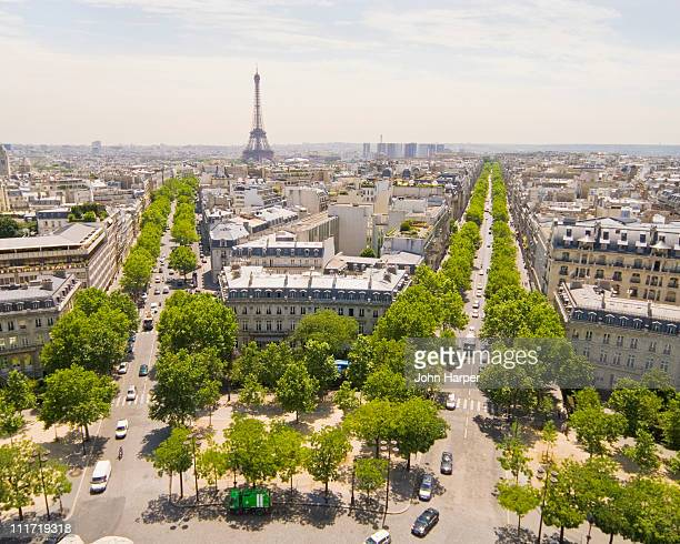 view from arc de triomphe of paris skyline - place charles de gaulle paris stock photos and pictures