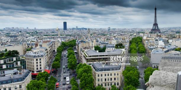 view from arc de triomphe - hank vermote stock pictures, royalty-free photos & images