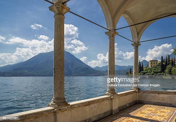 View from arcades of Villa Monastero, Lake Como, Italy
