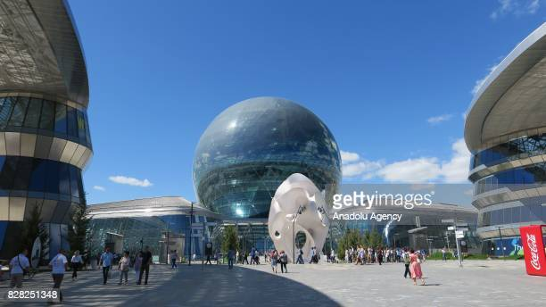 A view from Astana EXPO 2017 is seen in Astana Kazakhstan on August 9 2017 The Astana Expo under the theme of Future Energy takes place between June...