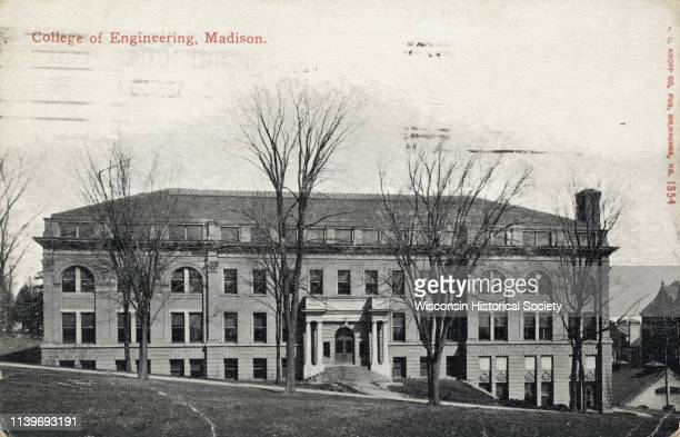 View from Bascom Hill of the Engineering Building on the University of Wisconsin-Madison campus, Madison, Wisconsin, 1911.