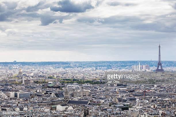 vue depuis la basilique du sacré-cœur à paris, france - île de france photos et images de collection