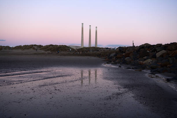 View from bay on the chimney Dynegy Power Plant at Morro Bay, California, USA