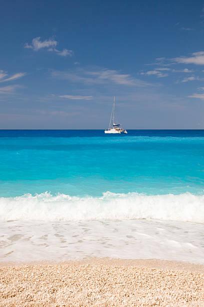 View from beach, Navagio Bay, Zakynthos, Greece