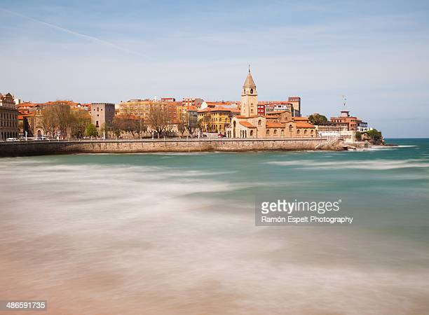 view from beach of gijon city - gijon stock pictures, royalty-free photos & images