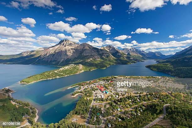 View from Bear's Hump over the hamlet Waterton Park Waterton Lakes National Park Alberta Canadian Rockies Canada