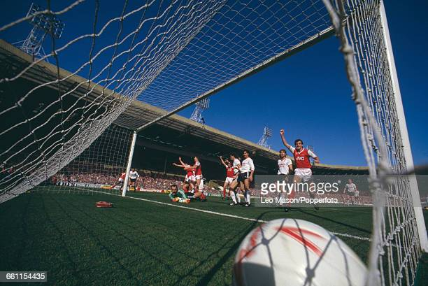 View from behind the goal after Charlie Nicholas of Arsenal equalised in the 1987 Football League Cup Final between Arsenal and Liverpool at Wembley...
