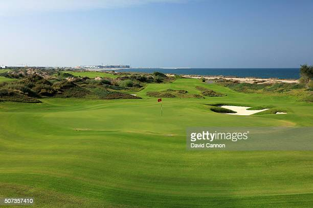 View from behind the green on the 184 yards par 3, 17th hole on the Greg Norman designed championship course at the Almouj Golf on January 27, 2016...