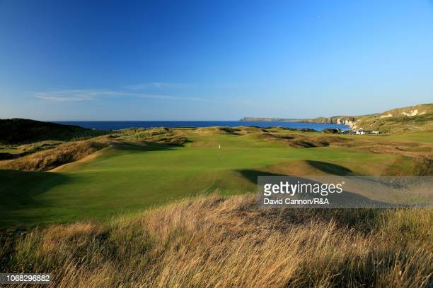 A view from behind the green on the 189 yards par 3 sixth hole 'Harry Colt's' on the Dunluce Links at Royal Portrush Golf Club the venue for The Open...
