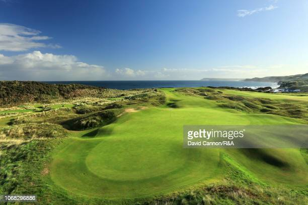 View from behind the green on the 189 yards par 3, sixth hole 'Harry Colt's' at Royal Portrush Golf Club the venue for The Open Championship 2019 on...