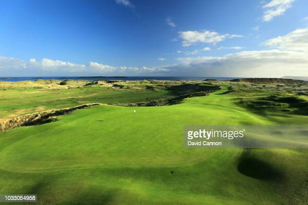 View from behind the green on the 236 yards par 3, 16th hole 'Calamity Corner' at Royal Portrush Golf Club the venue for The Open Championship 2019...