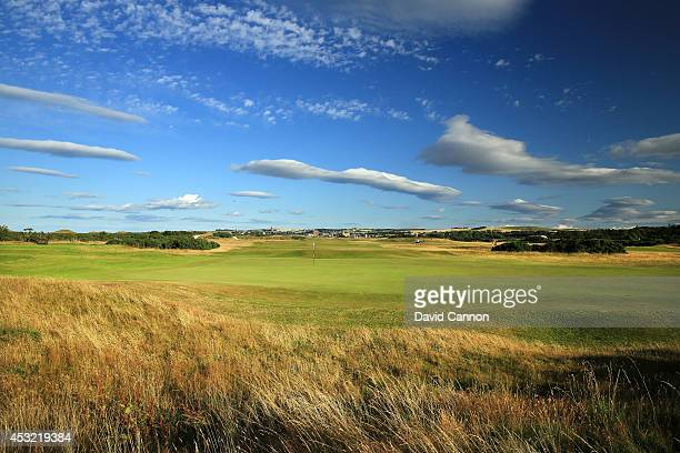 A view from behind the green on the 412 yards par 4 6th hole 'Heatherly Out' on the Old Course at St Andrews venue for The Open Championship in 2015...