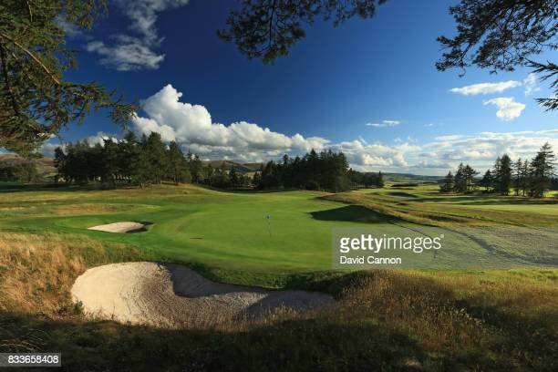 A view from behind the green on the 419 yards par 4 ninth hole on the Queen's Course at The Gleneagles Hotel on August 7 2017 in Auchterarder Scotland