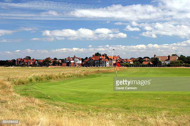 View from behind the green on the 427 yard par 4, at Royal Liverpool Golf Club, this hole will play as the 3rd hole in the 2006 Open Championship, on...